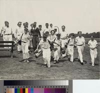 """Sam Kripple, Caddymaster, and the Caddies"" at Palos Verdes Golf Club."