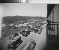 Automobiles decorated for celebration of newly opened highway, Palos Verdes...