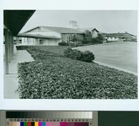 Chadwick School main entrance building and parking lot, Palos Verdes, California...