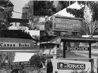 Collage of signs for Rolling Hills Estates' neighborhoods